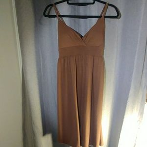 Strerchy brown spaghetti strap dress